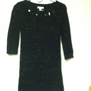 Cherokee Knit Dress w/Black Beads at Neck Size L